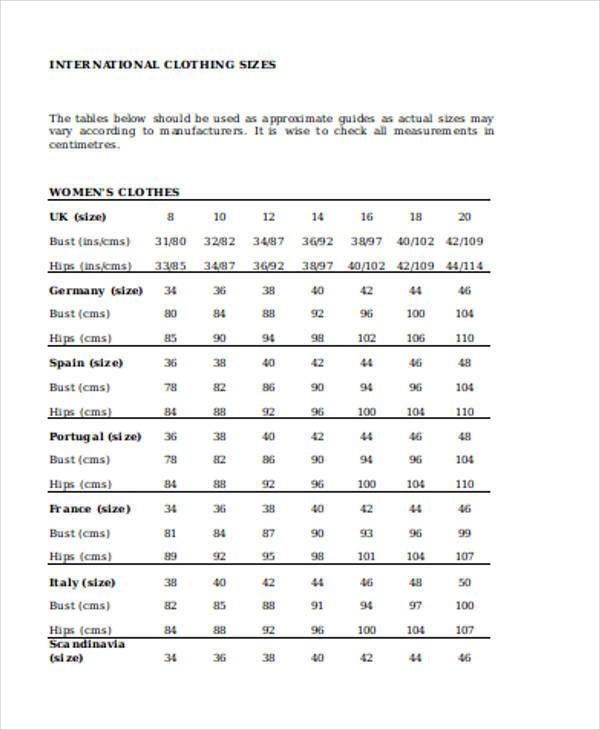 clothing size chart1
