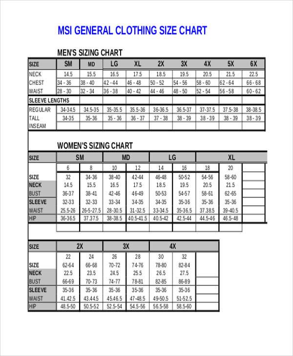 clothing size chart2