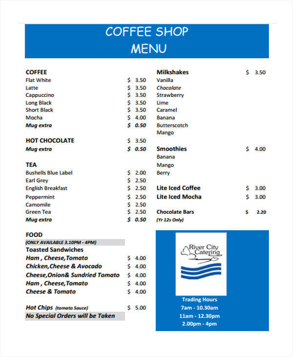 coffee shop menu list
