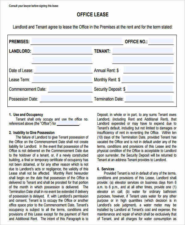 36 Lease Agreements in PDF – Commercial Office Lease Agreement