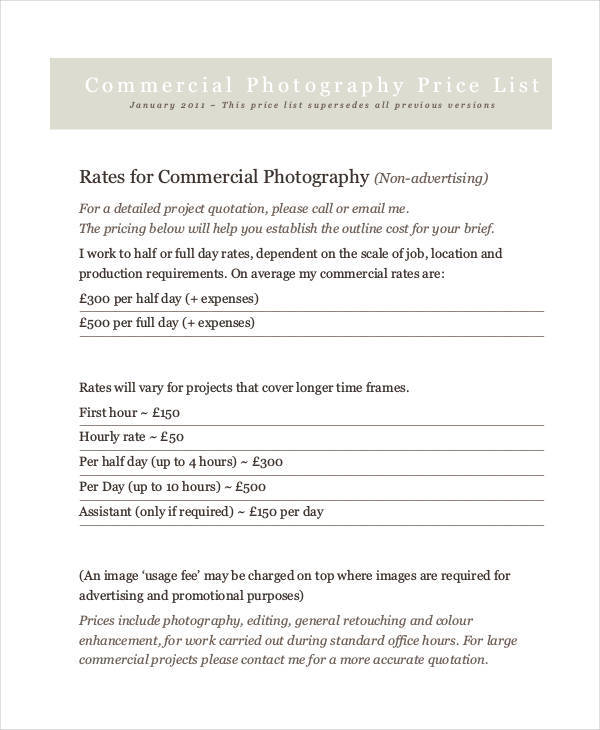 commercial photography price