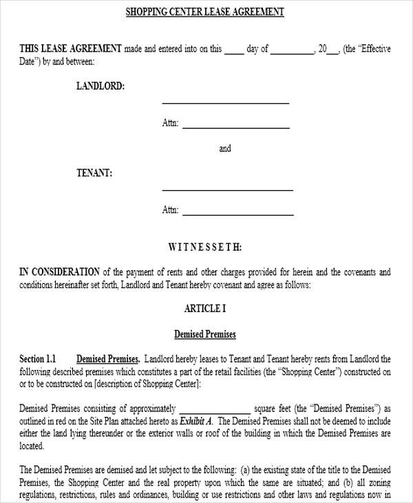 commercial shop lease agreement