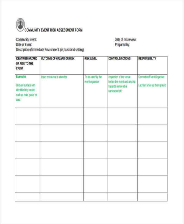 community event risk assessment form