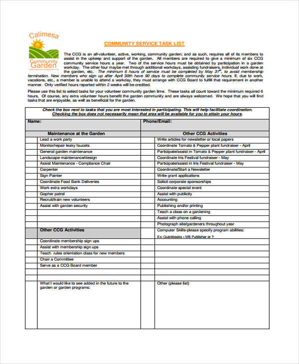community service task list