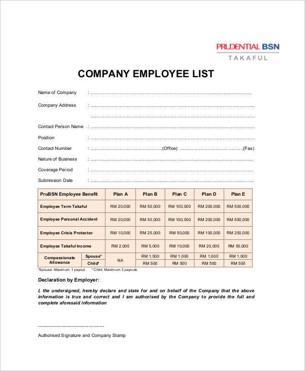 8+ Employee List Samples - Free Sample, Example, Format Download