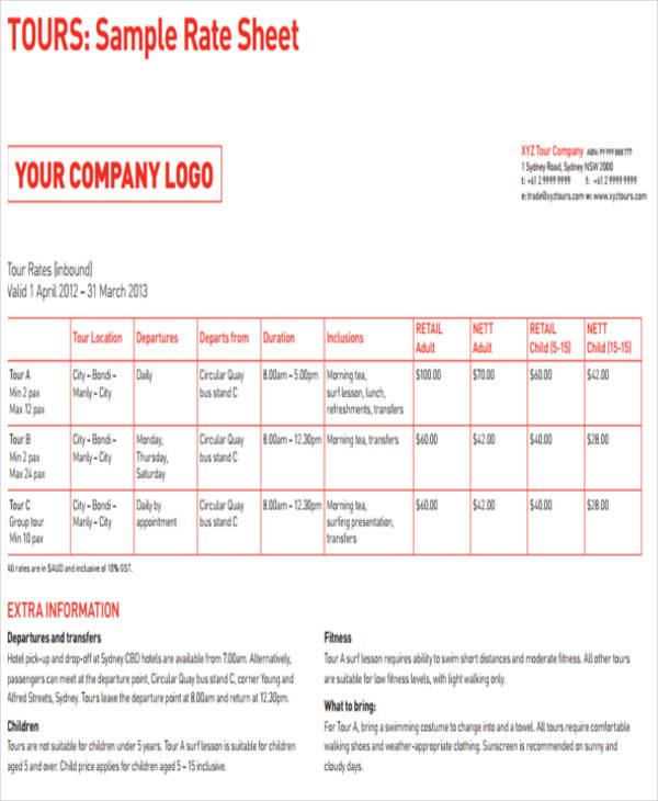 Company Rate Sheet Sample