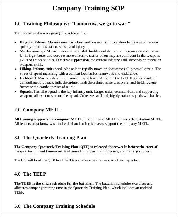 company training sop