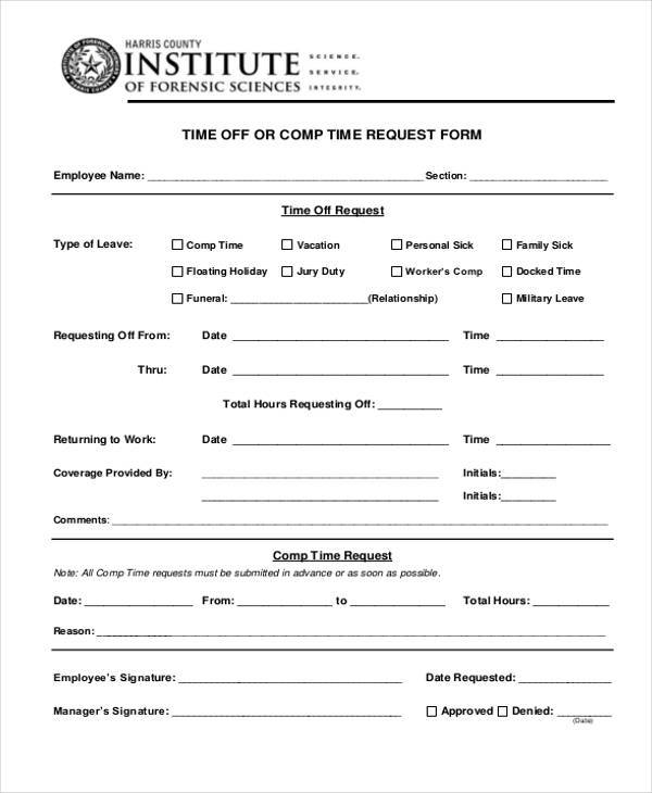24  time off request forms in pdf