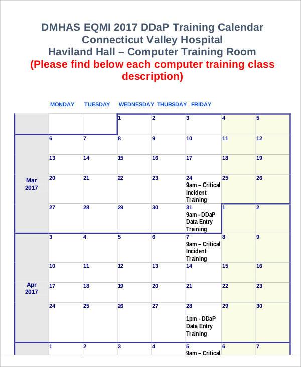 computer training calendar