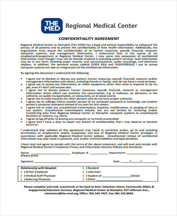 Medical Confidentiality Agreement  Free Sample Example