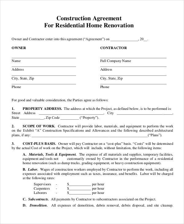 52 contract agreement templates sample templates for Home builder contracts