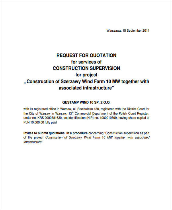 construction supervision request quotation