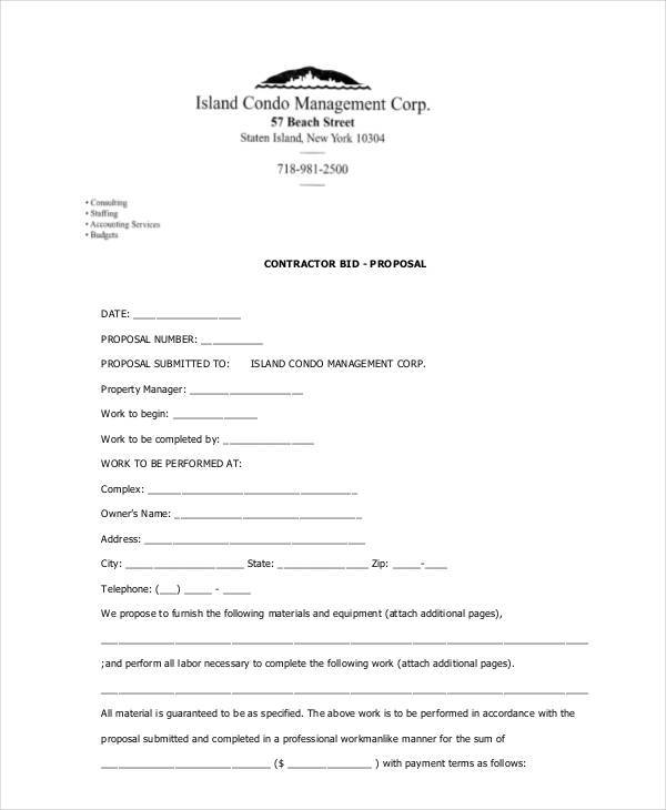 contractor bid proposal