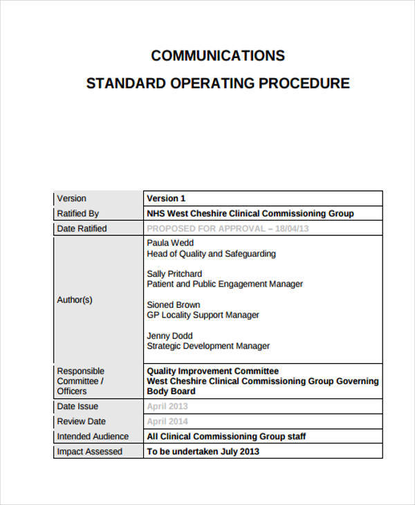corporate communication sop