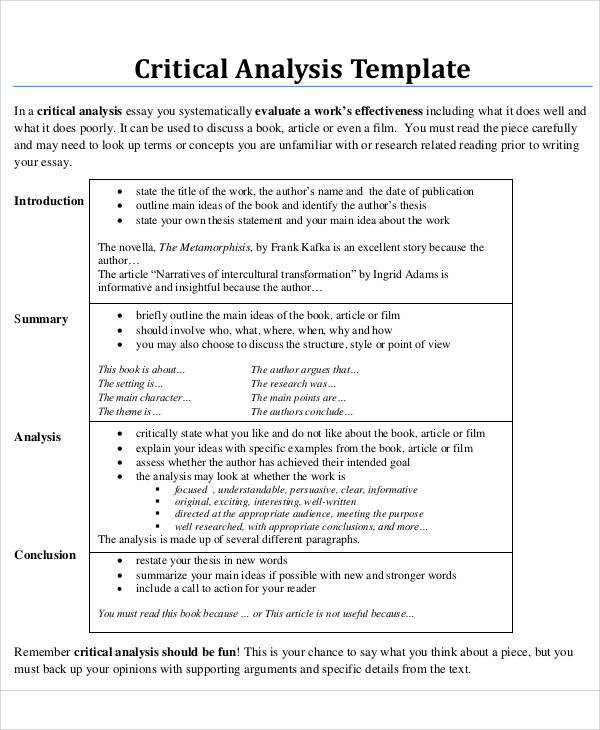 Critical analysis essay sample