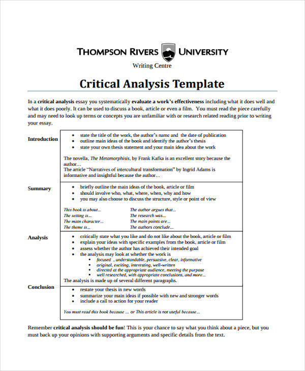 Critical Analysis  Examples In Word Pdf