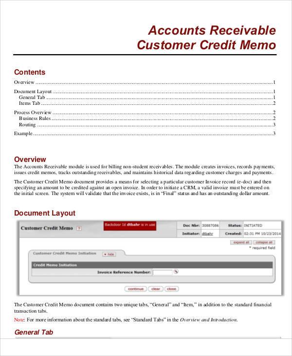 customer credit memo