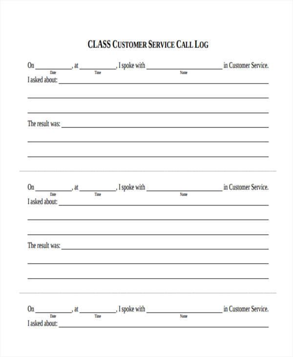 customer service call log1