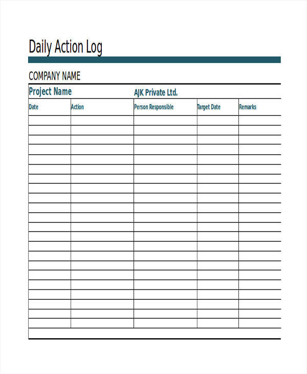daily action list template