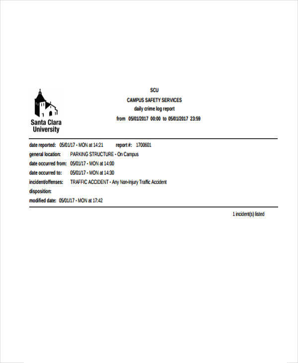 daily crime log report