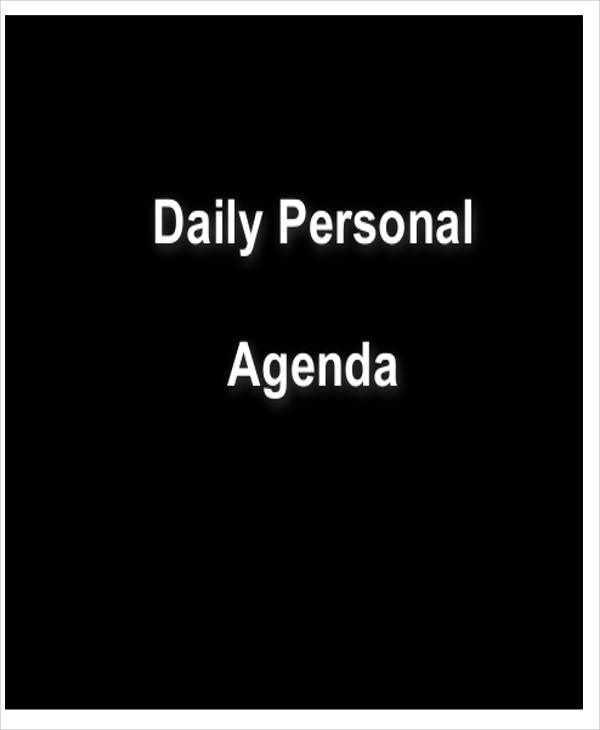 daily personal agenda