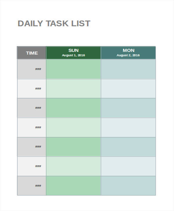 daily task list format