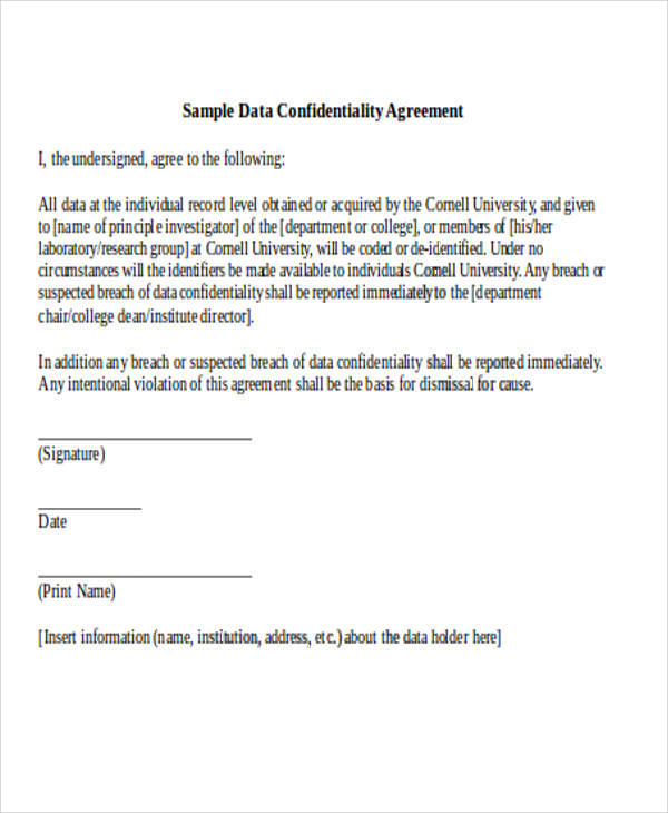 data confidentiality agreement