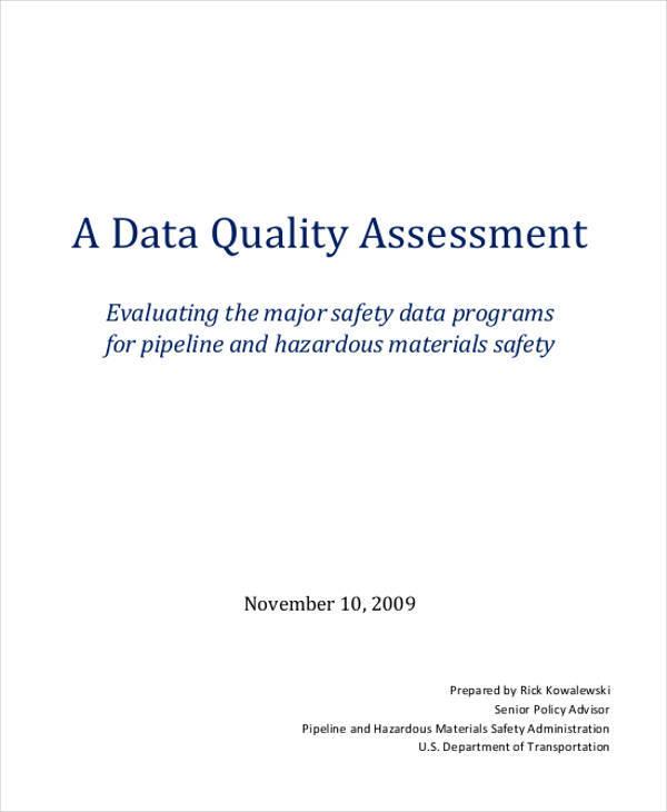 data quality sample assessment
