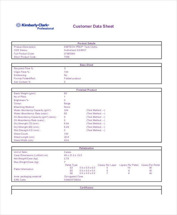 data sheet template for customer