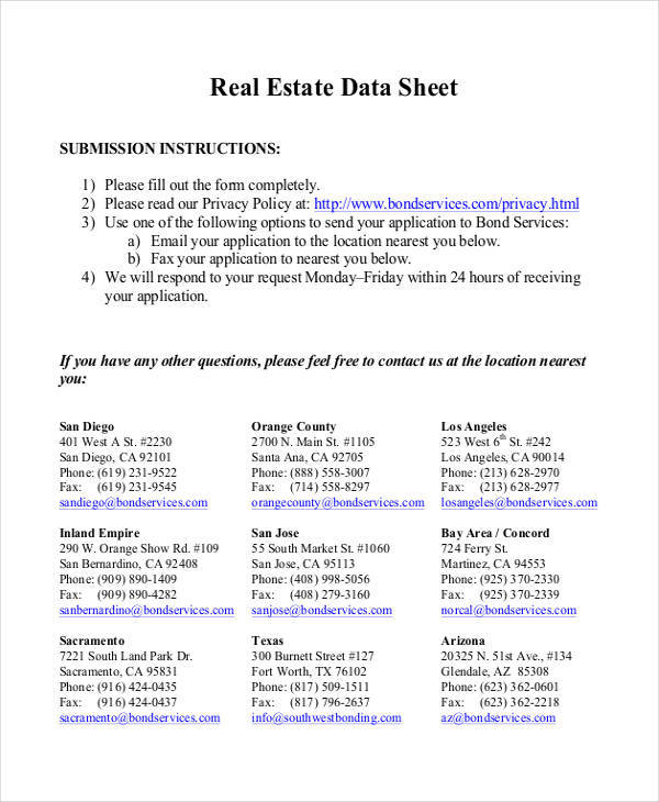 Data Sheet Templates Free Sample Example Format Download - Real estate show sheet template
