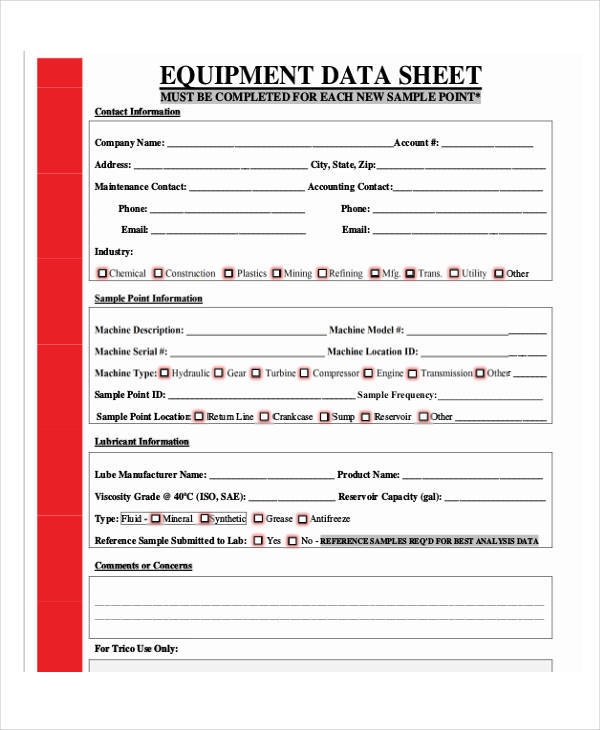 data sheet for equipment