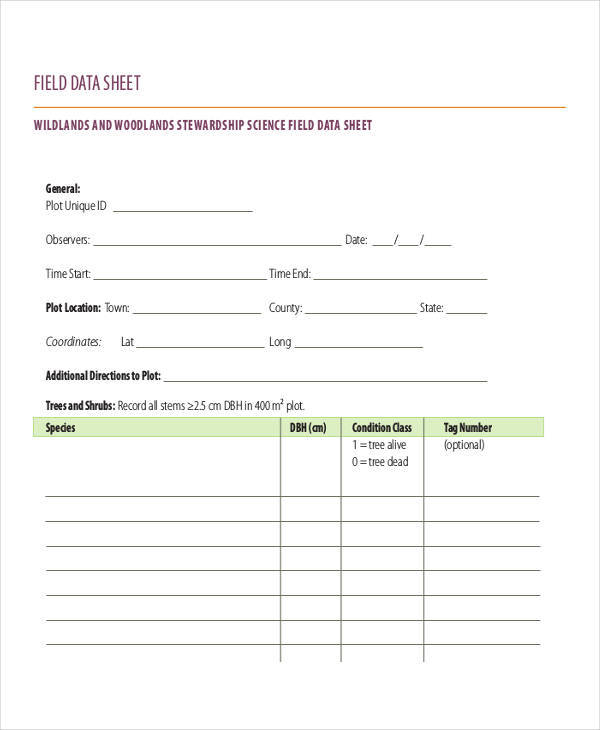 data sheet for field