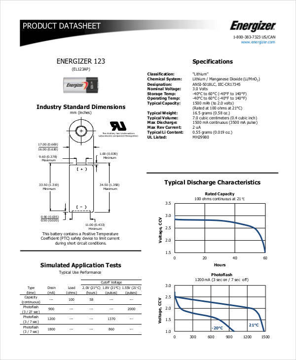 data sheet for product