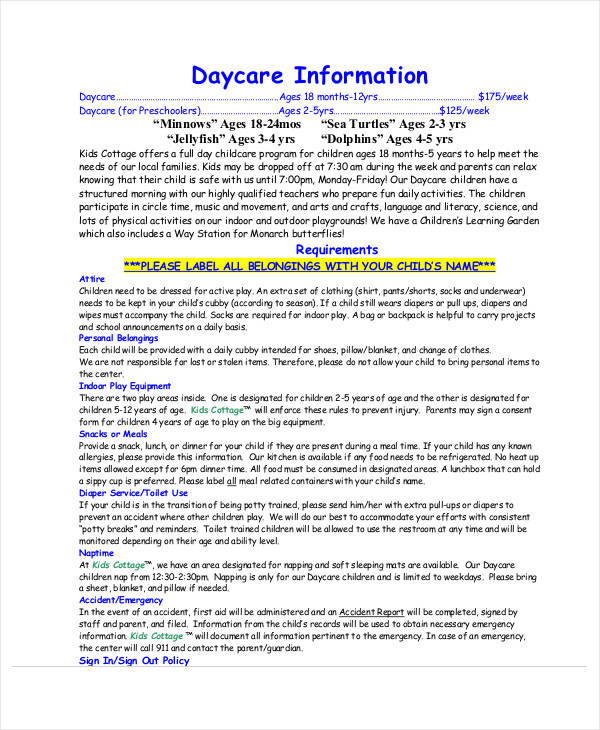 daycare daily information sheet