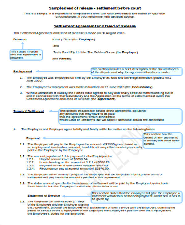 deed of release agreement