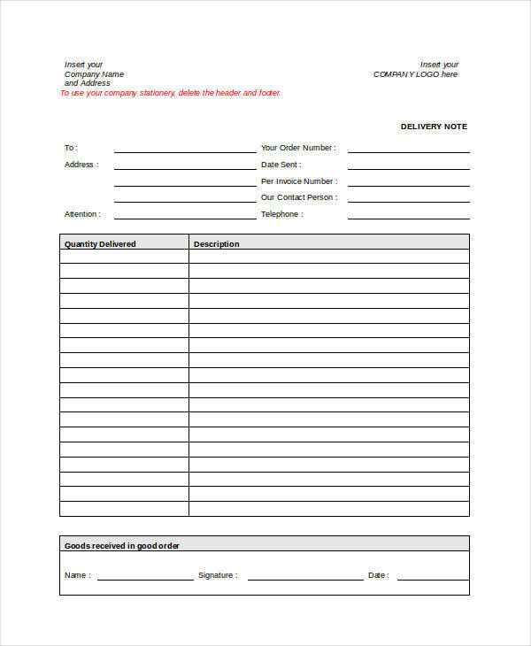 Delivery Note Invoice  Delivery Order Template