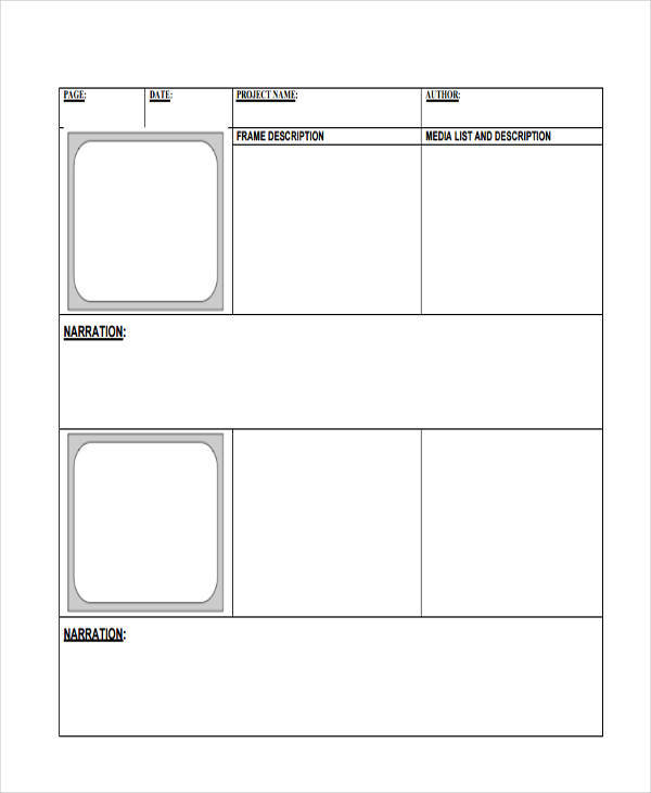 Digital Storyboard Templates   Examples In Word Pdf