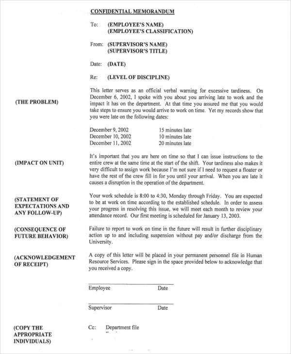 Disciplinary Memo Templates  Free Sample Example Format Download