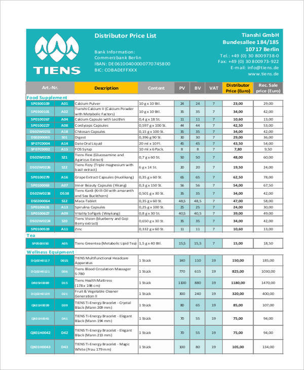 distributor price list