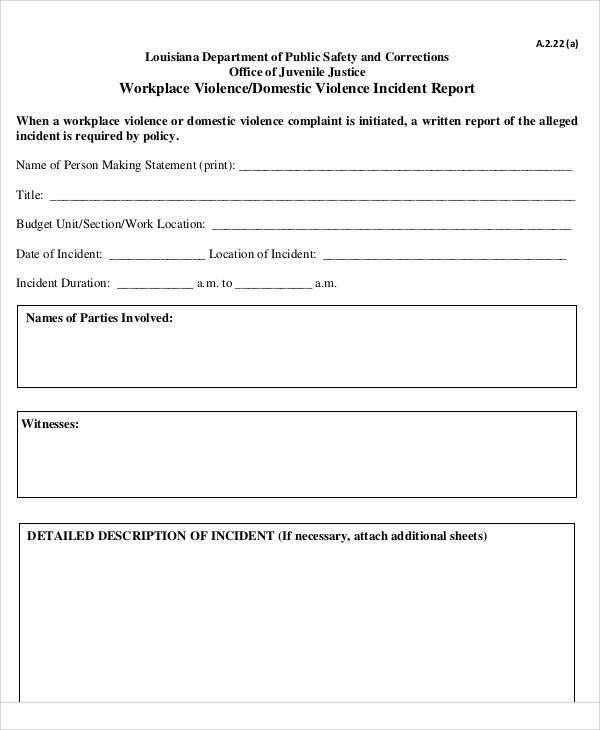 domestic violence incident report