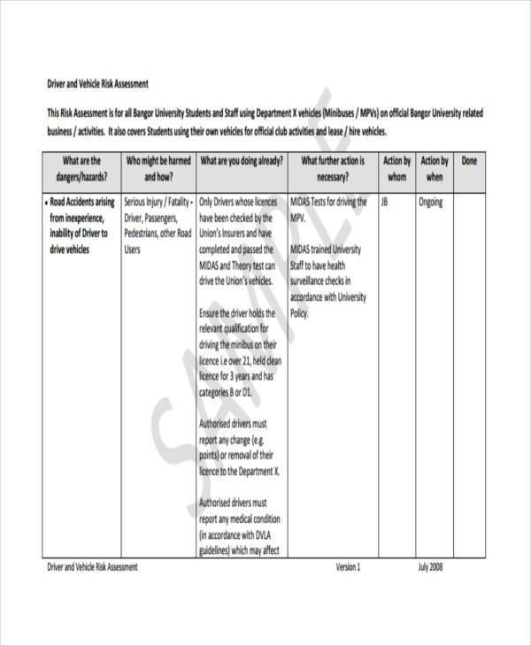 driver vehicle risk assessment form