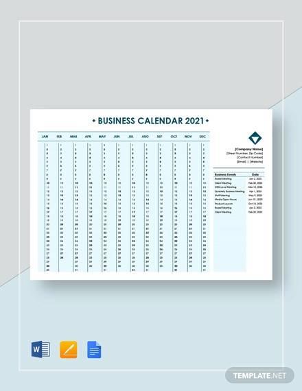 editable business calendar template
