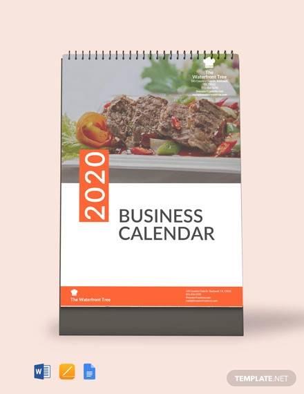 editable business desk calendar template