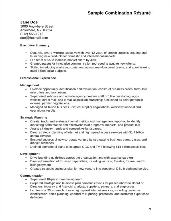 effective combination resume sample