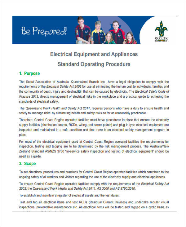 electrical equipment sop1