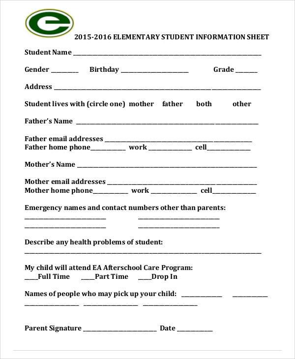 elementary student information sheet1
