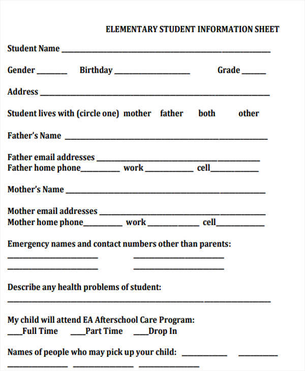elementary student information sheet2
