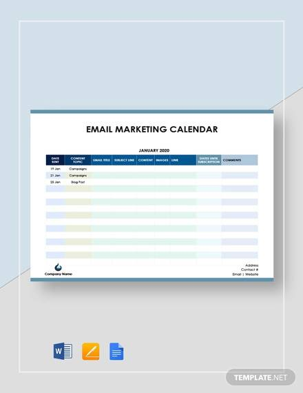 email marketing calendar template
