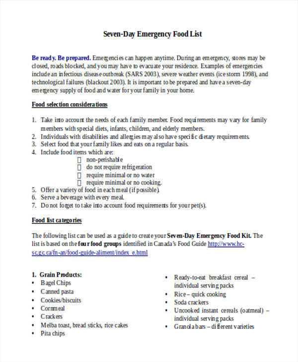 12+ Food List Sample - Free Sample, Example, Format Download