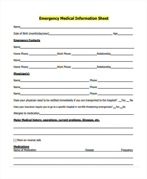 emergency medical information sample sheet